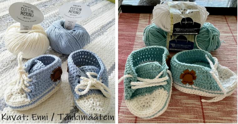 Vauvan tennarit – kahdet eri langoista virkatut tennaritossut