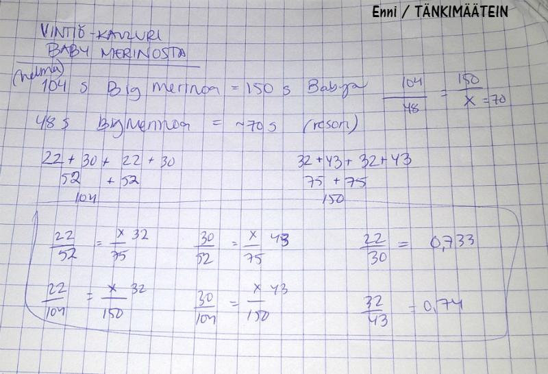 Näiden laskelmien avulla langanvaihdos onnistui ilman ongelmia.